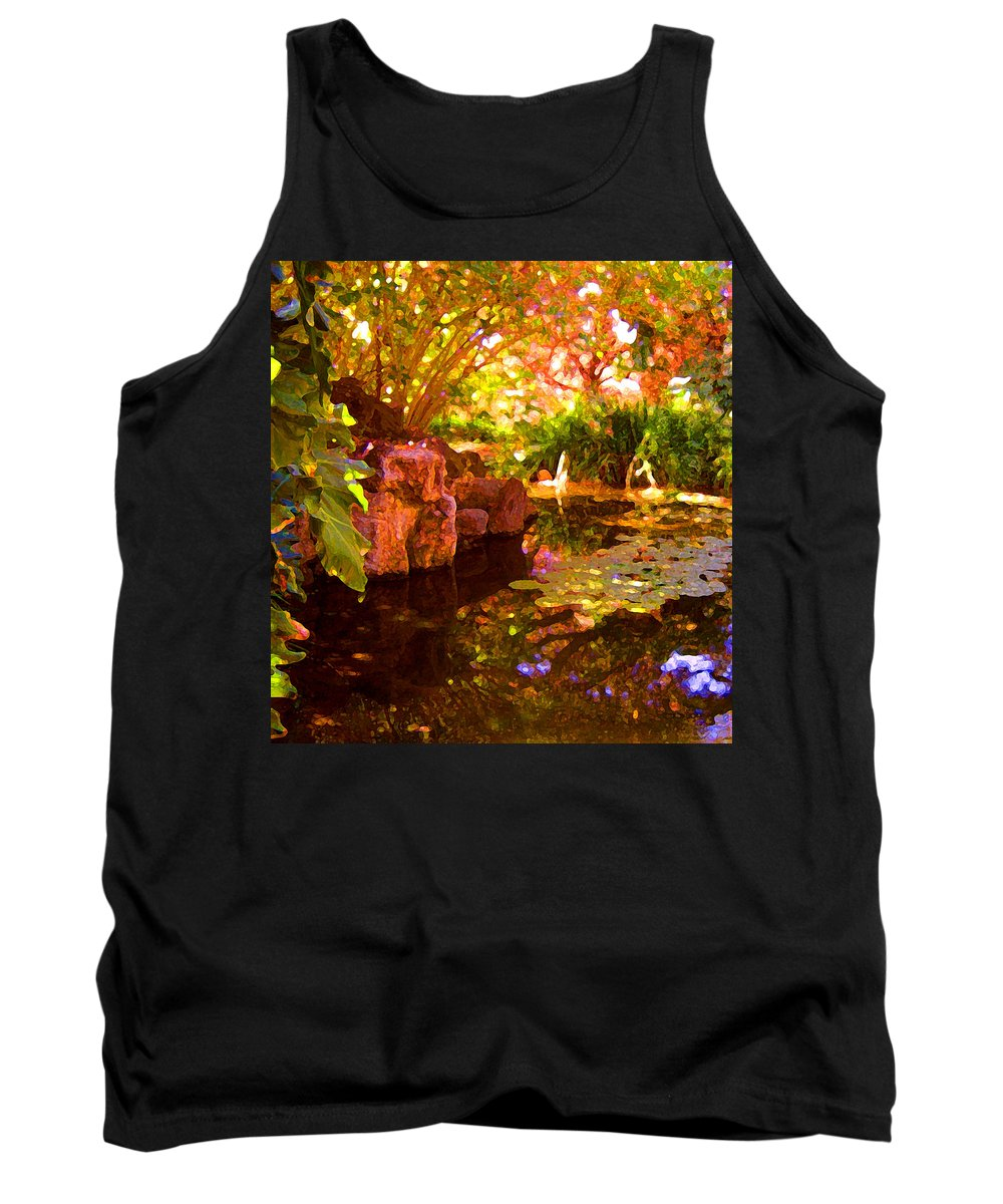 Water Landscape Tank Top featuring the painting Hidden Pond by Amy Vangsgard