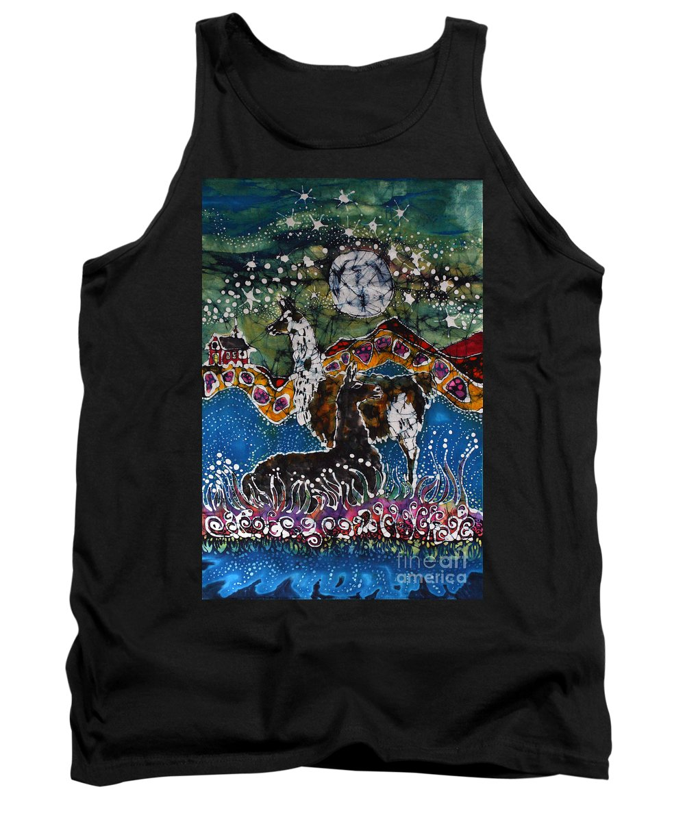 Llamas Tank Top featuring the tapestry - textile Hills Alive With Llamas by Carol Law Conklin