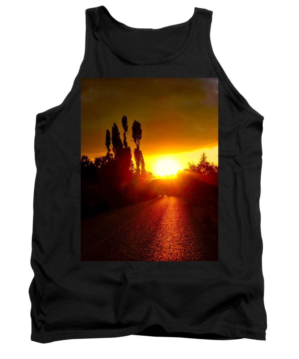 Sunset Tank Top featuring the photograph Hit The Road Jack by Zafer Gurel