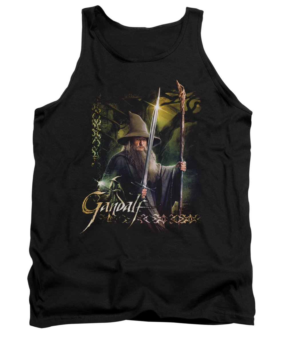 The Hobbit Tank Top featuring the digital art Hobbit - Sword And Staff by Brand A