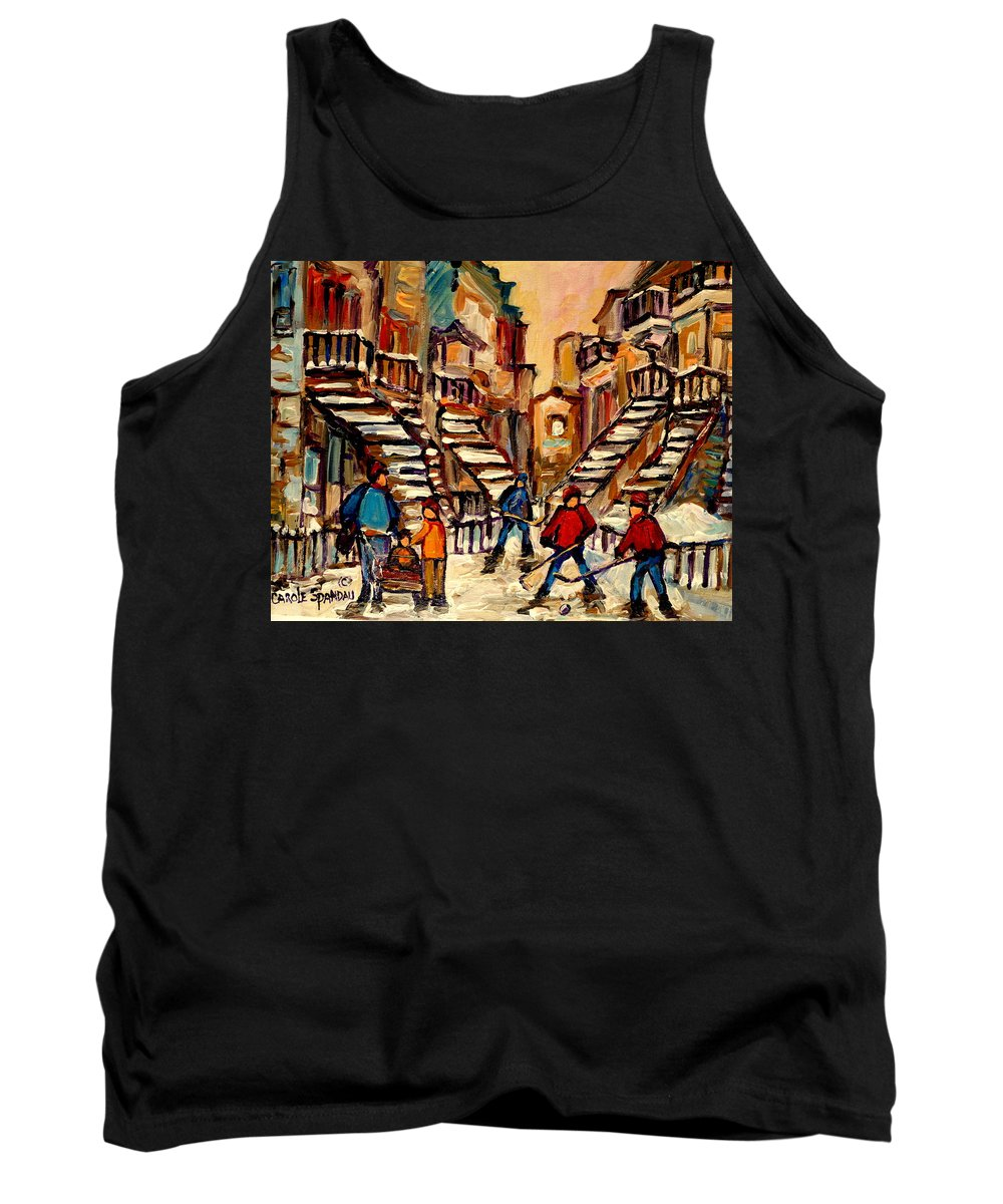 Montreal Tank Top featuring the painting Hockey Game Near Winding Staircases Montreal Streetscene by Carole Spandau