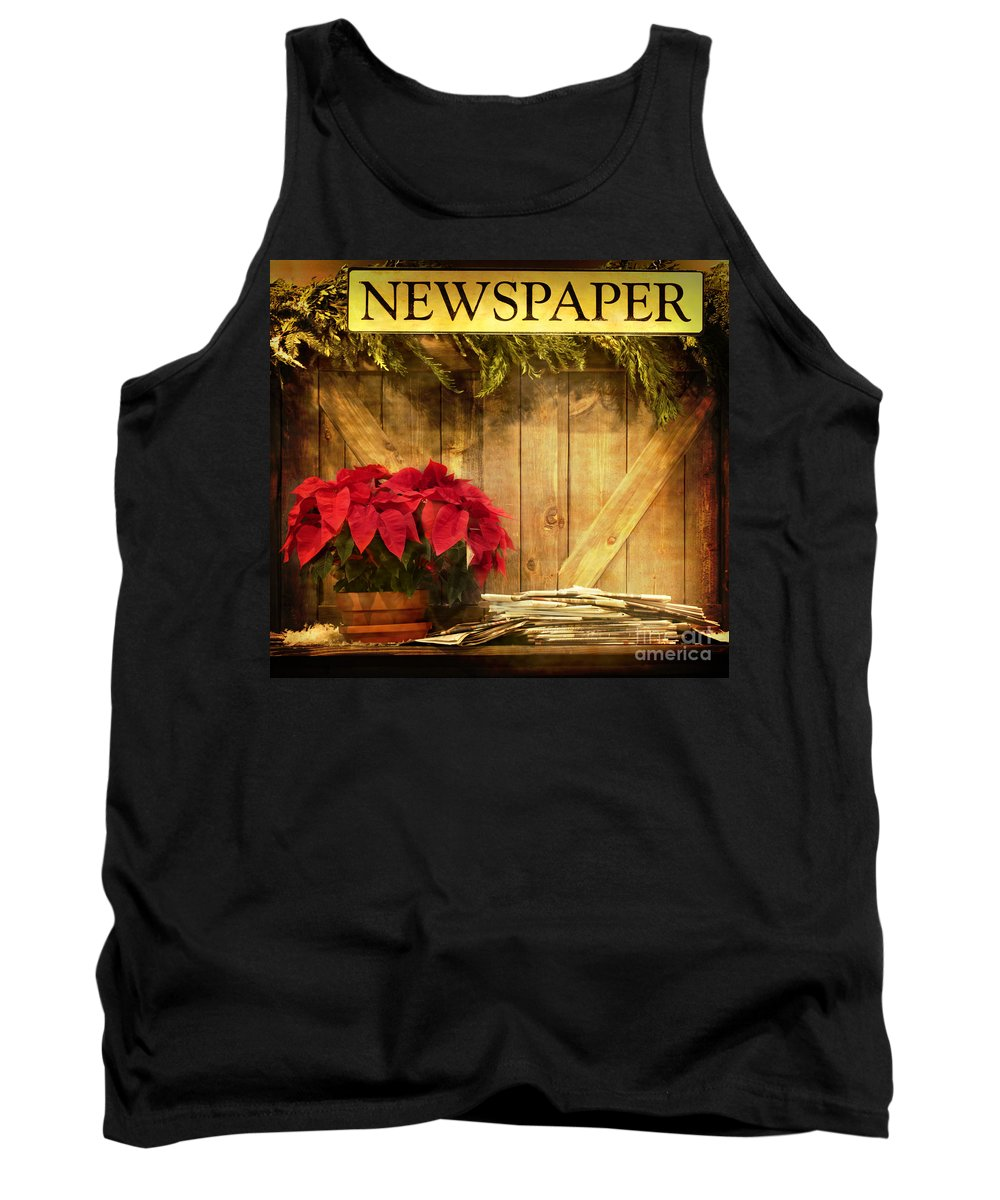 Christmas; Country; Newspaper; Sign; Vintage; Wood; Home; Business; Flowers; House; Red; Wooden; Holiday; Pile; Seasonal; Brown; Table; Garland; Greenery; Christmastime; Store; Poinsettia Tank Top featuring the photograph Holiday News by Margie Hurwich