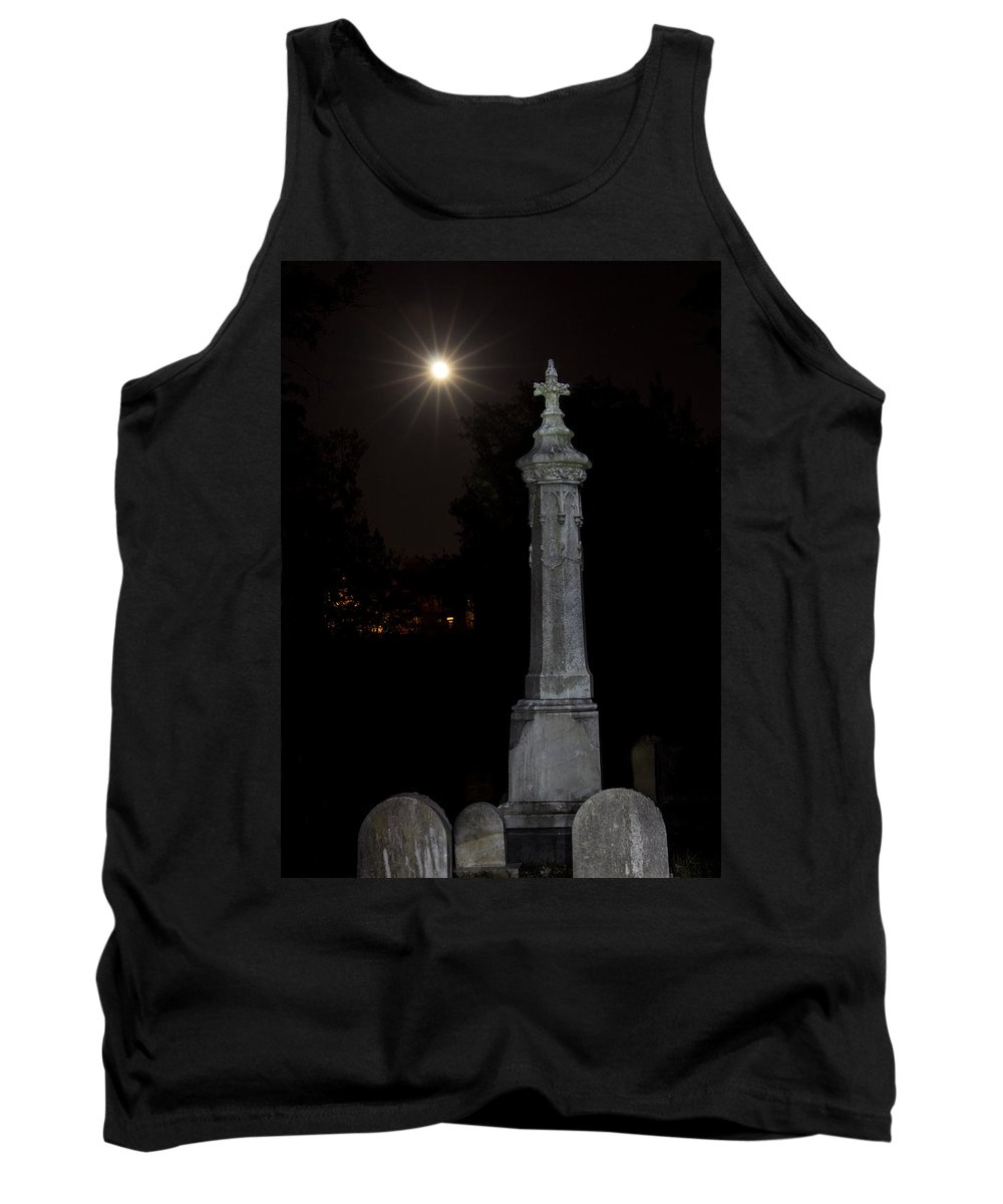 Hollywood Cemetery Moon Rise Tank Top featuring the photograph Hollywood Cemetery Moon Rise by Jemmy Archer