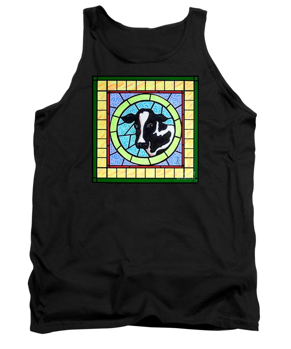 Cattle Tank Top featuring the painting Holstein 4 by Jim Harris
