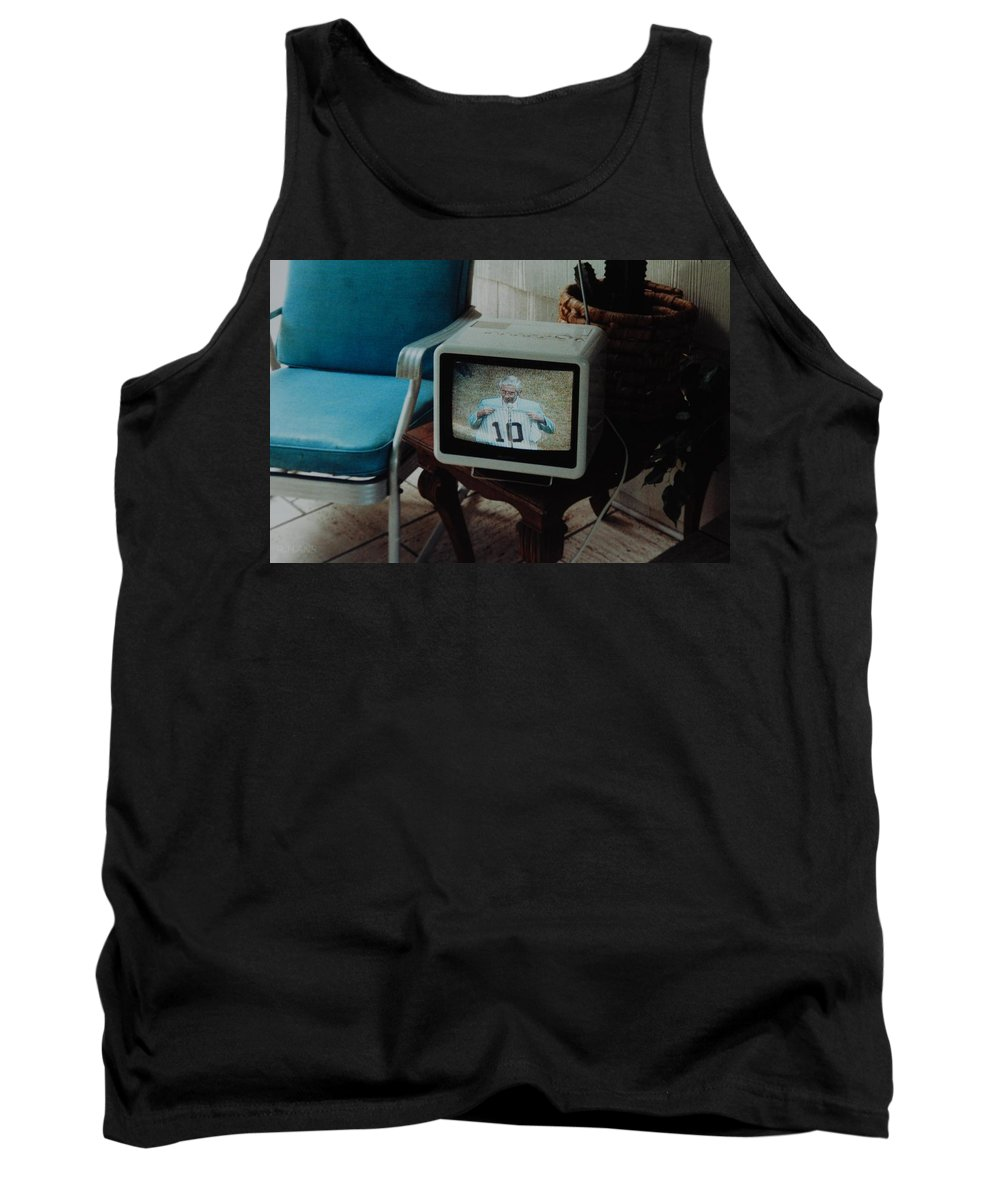 New York Yankees Tank Top featuring the photograph Holy Cow Phil Rizzuto Retired Yankee Number On 08 04 1985 by Rob Hans