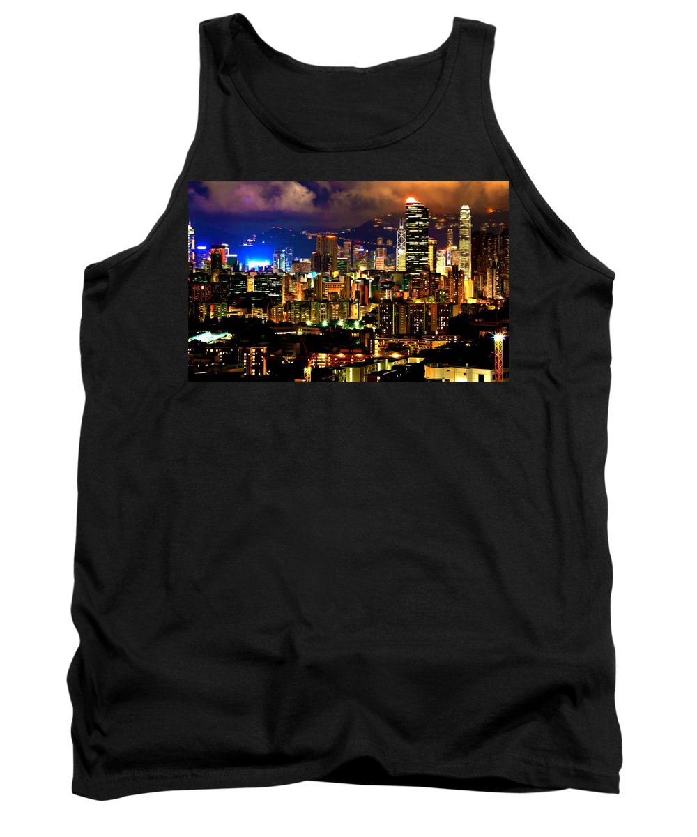 Architecture Tank Top featuring the painting Hong Kong Skyline At Night 1 by Jeelan Clark