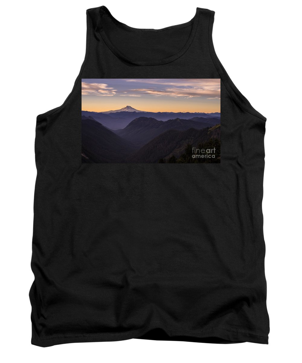 Rainier Tank Top featuring the photograph Hood And Adams Sunrise Layers by Mike Reid