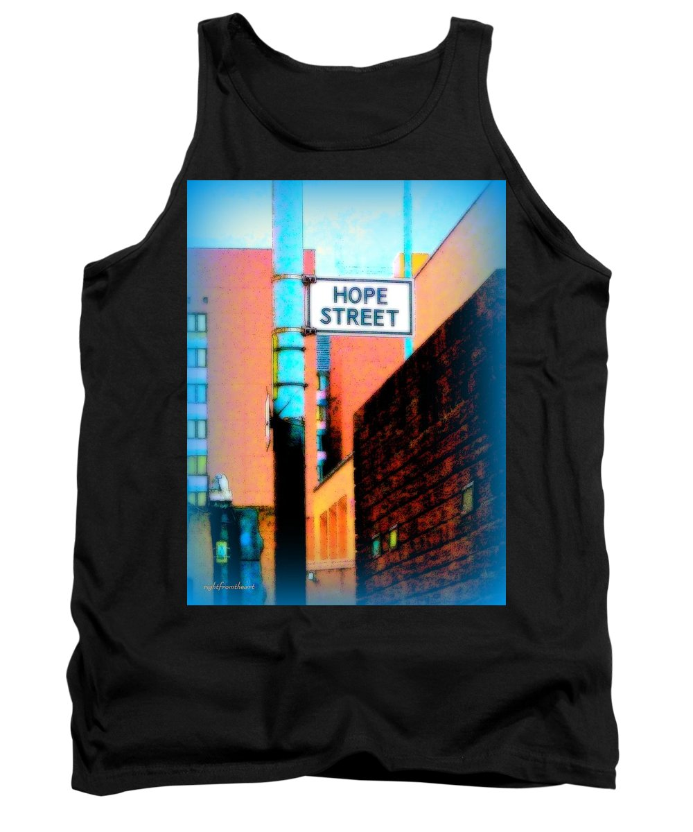Rightfromtheart Tank Top featuring the photograph Hope Street by Bob and Kathy Frank