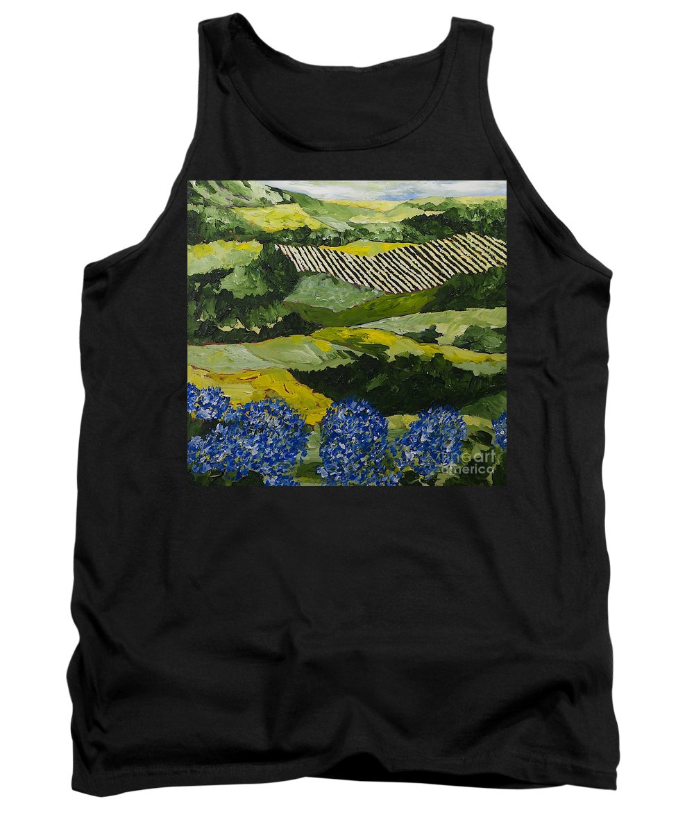 Landscape Tank Top featuring the painting Hydrangea Valley by Allan P Friedlander
