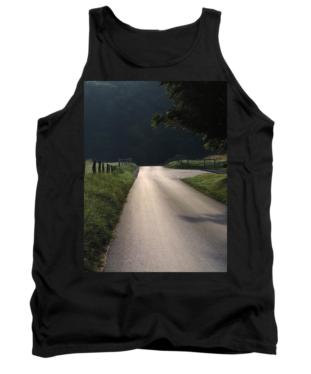 Country Road Tank Top featuring the photograph I Walk Alone by Roe Rader