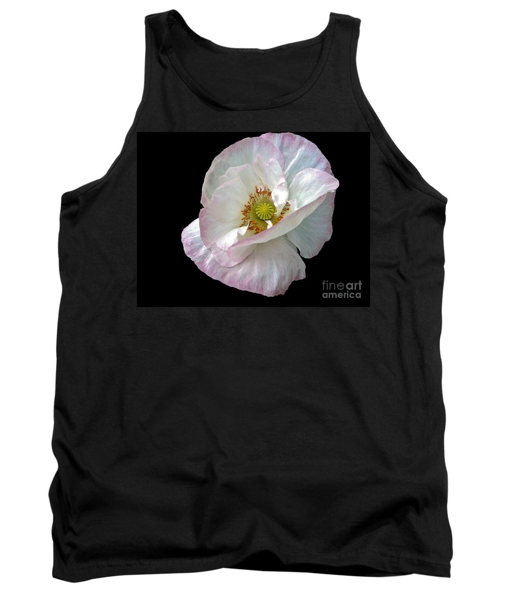 Icelandic Poppy On Black Tank Top featuring the photograph Icelandic Poppy Version Two by Byron Varvarigos
