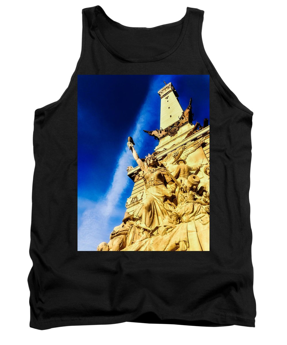 Indianapolis Tank Top featuring the photograph Indiana Civil War Monument by Jon Woodhams