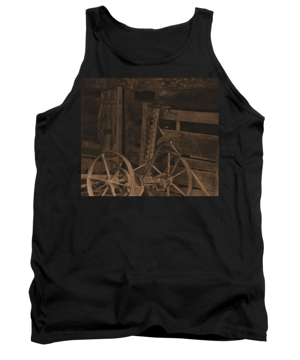 Inside The Barn In Sepia Tank Top featuring the photograph Inside The Barn In Sepia by Dan Sproul