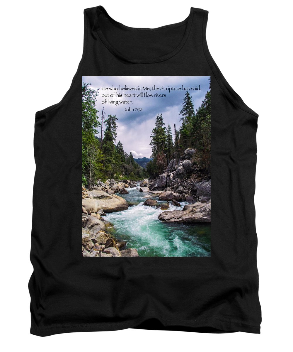 Flowing River Tank Top featuring the photograph Inspirational Bible Scripture Emerald Flowing River Fine Art Original Photography by Jerry Cowart