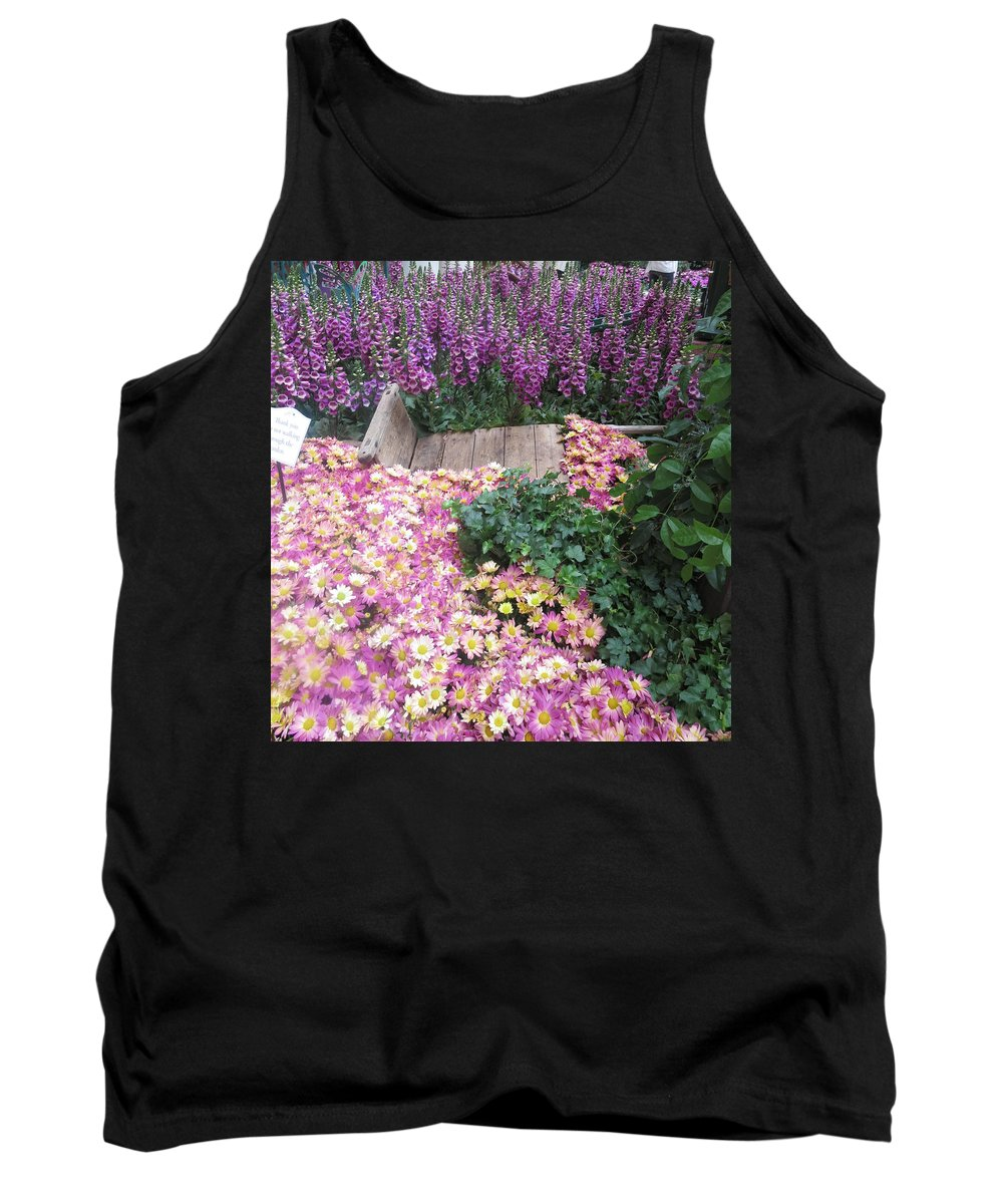 Flowers Tank Top featuring the photograph Interior Decorations Butterfly Gardens Vegas Golden Yellow Purple Flowers by Navin Joshi