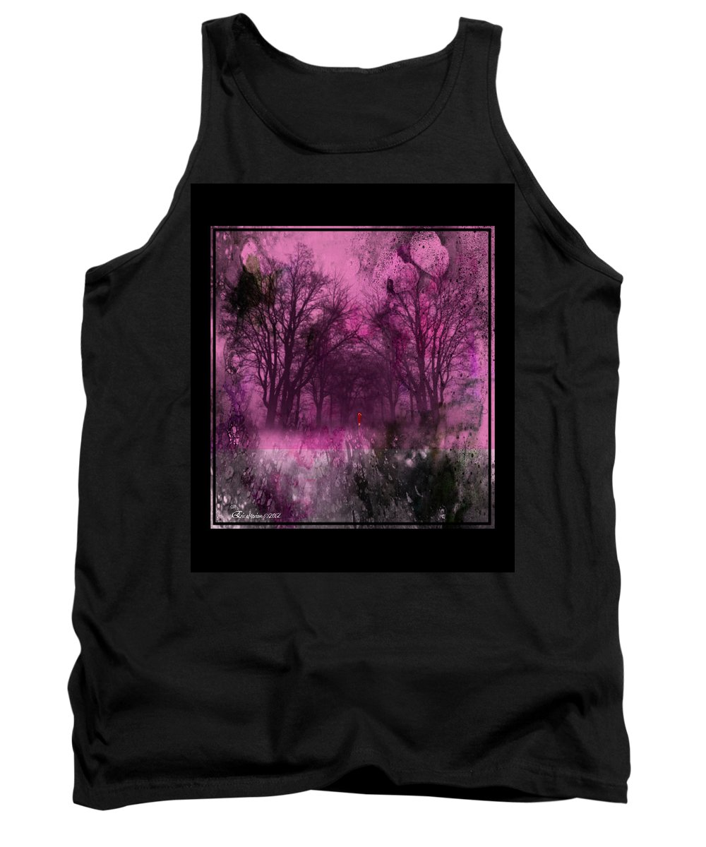 Trees Tank Top featuring the painting Into A Dark Pink Forest by Ericamaxine Price
