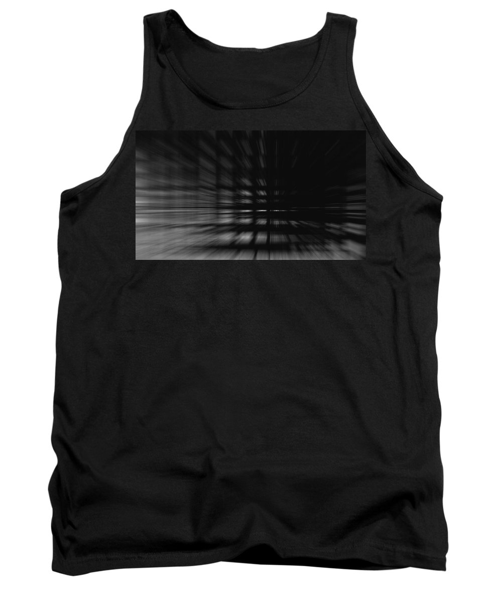 Dark Light Black White Floor Tunnel Fear Afraid Digital Art Window Matrix Block Blocks Expressionism Impressionism Abstract Information Computer Pc Big Brother Wall Tank Top featuring the photograph Into The Dark by Steve K