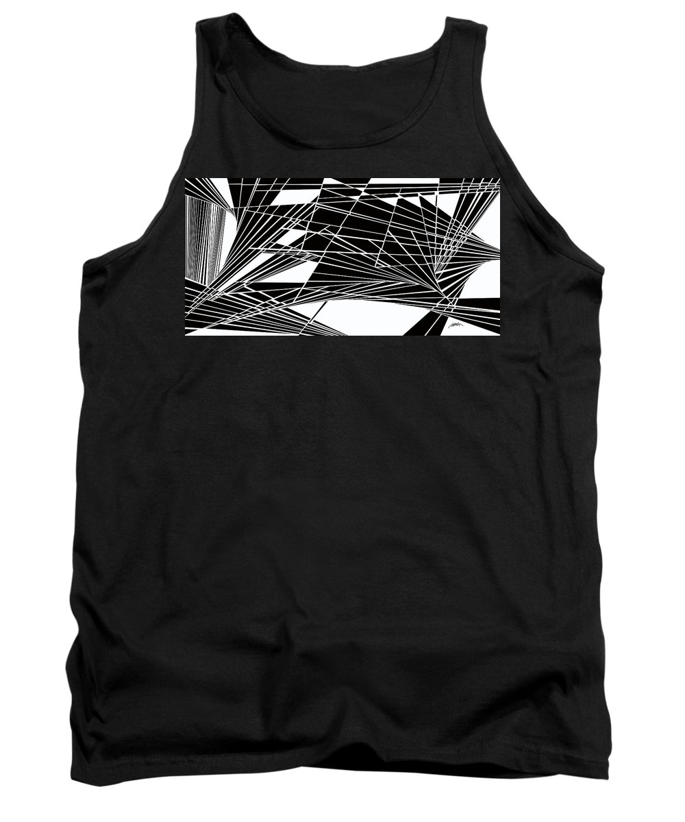 Dynamic Black And White Tank Top featuring the painting Introversion Five by Douglas Christian Larsen