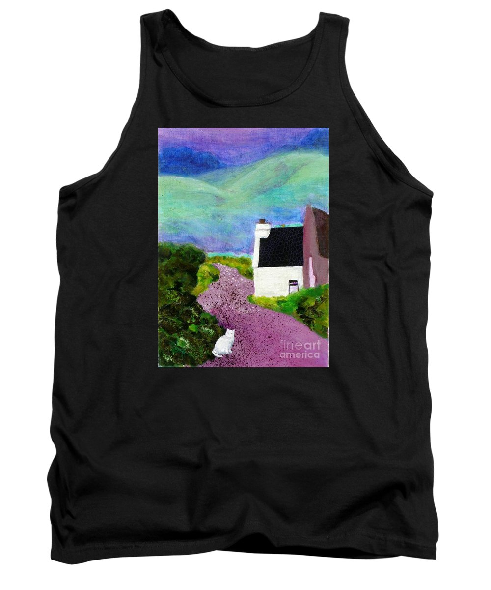 Ireland Tank Top featuring the mixed media Irish Cottage With Cat by Susan Minier
