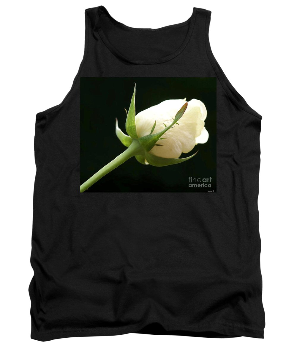 Ivory Tank Top featuring the photograph Ivory Rose Bud by Carol Lynch