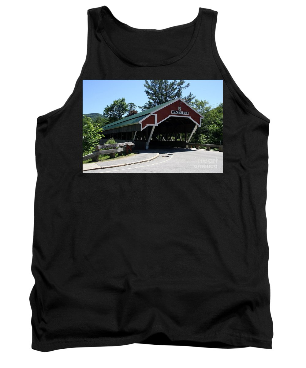 Jackson Covered Bridge Tank Top featuring the photograph Jackson Covered Bridge Nh by Christiane Schulze Art And Photography
