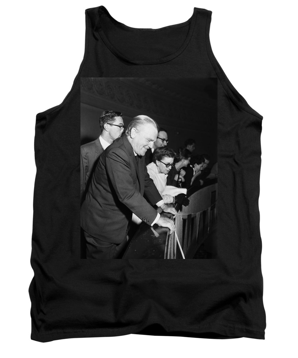 James Cagney Tank Top featuring the photograph James Cagney Dublin 1958 by Irish Photo Archive