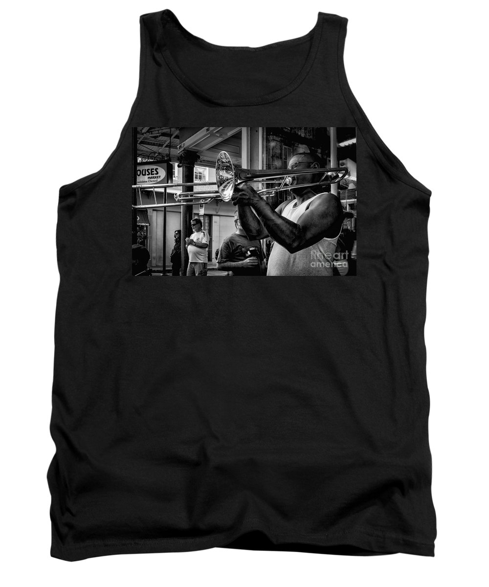 March 2014 Tank Top featuring the photograph Jazzy Trombone Music-bw by Kathleen K Parker
