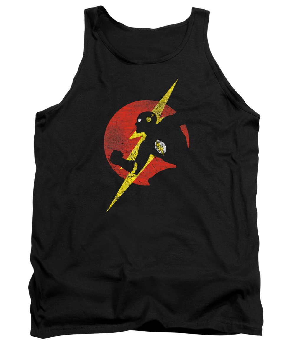 Tank Top featuring the digital art Jla - Flash Symbol Knockout by Brand A