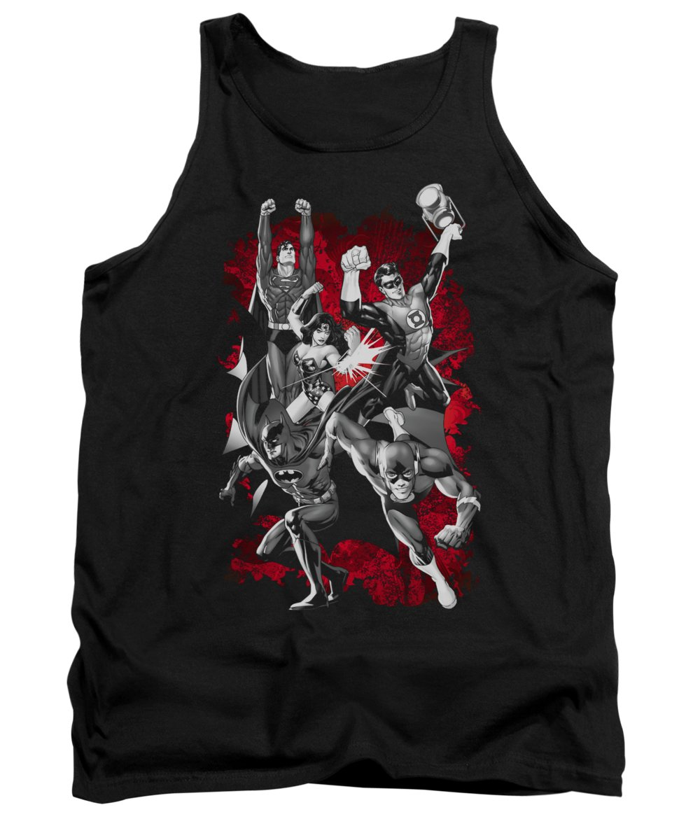 Justice League Of America Tank Top featuring the digital art Jla - Jla Explosion by Brand A