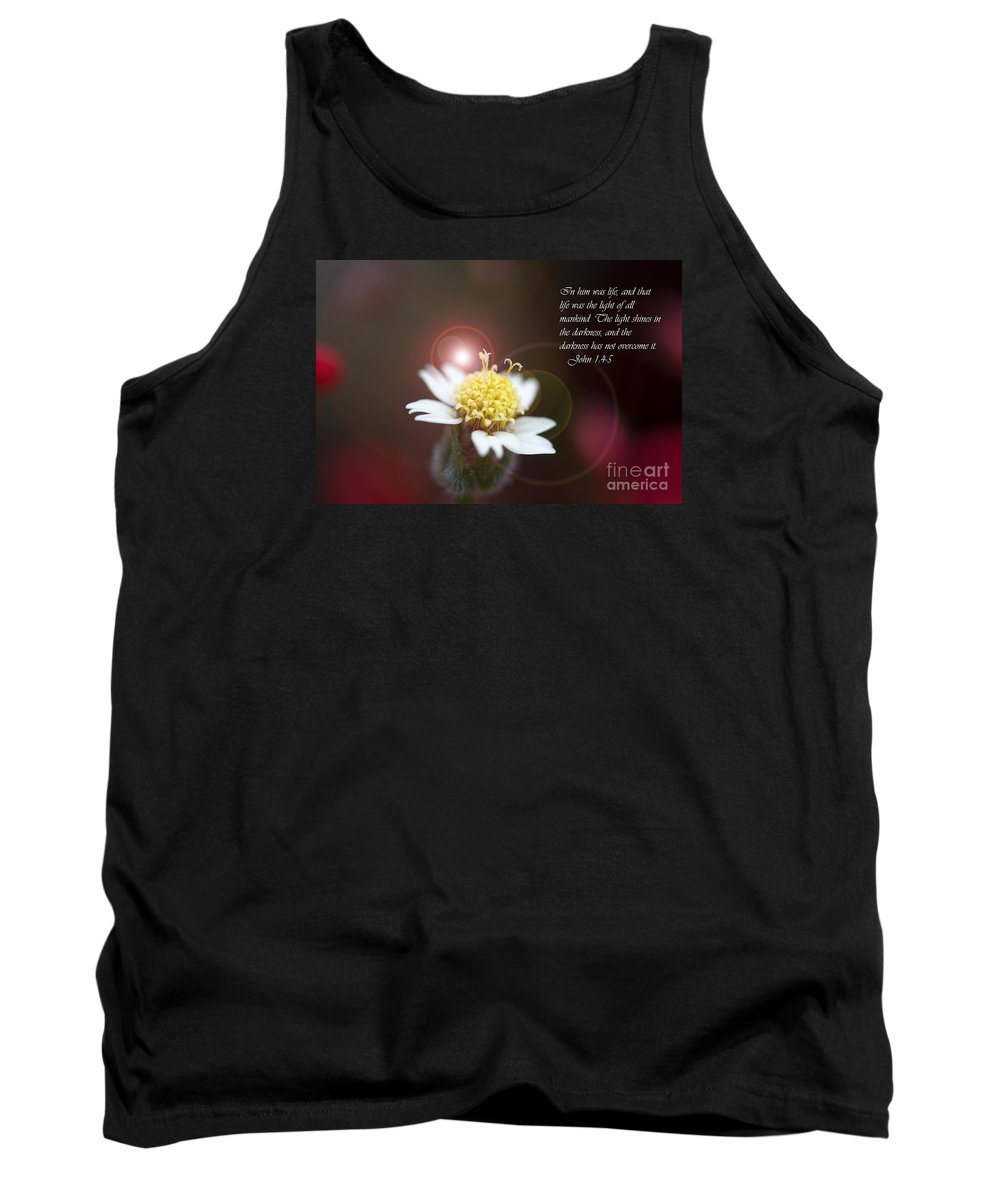 Artistic Flower Tank Top featuring the photograph John 1 4 And 5 by J Darrell Hutto
