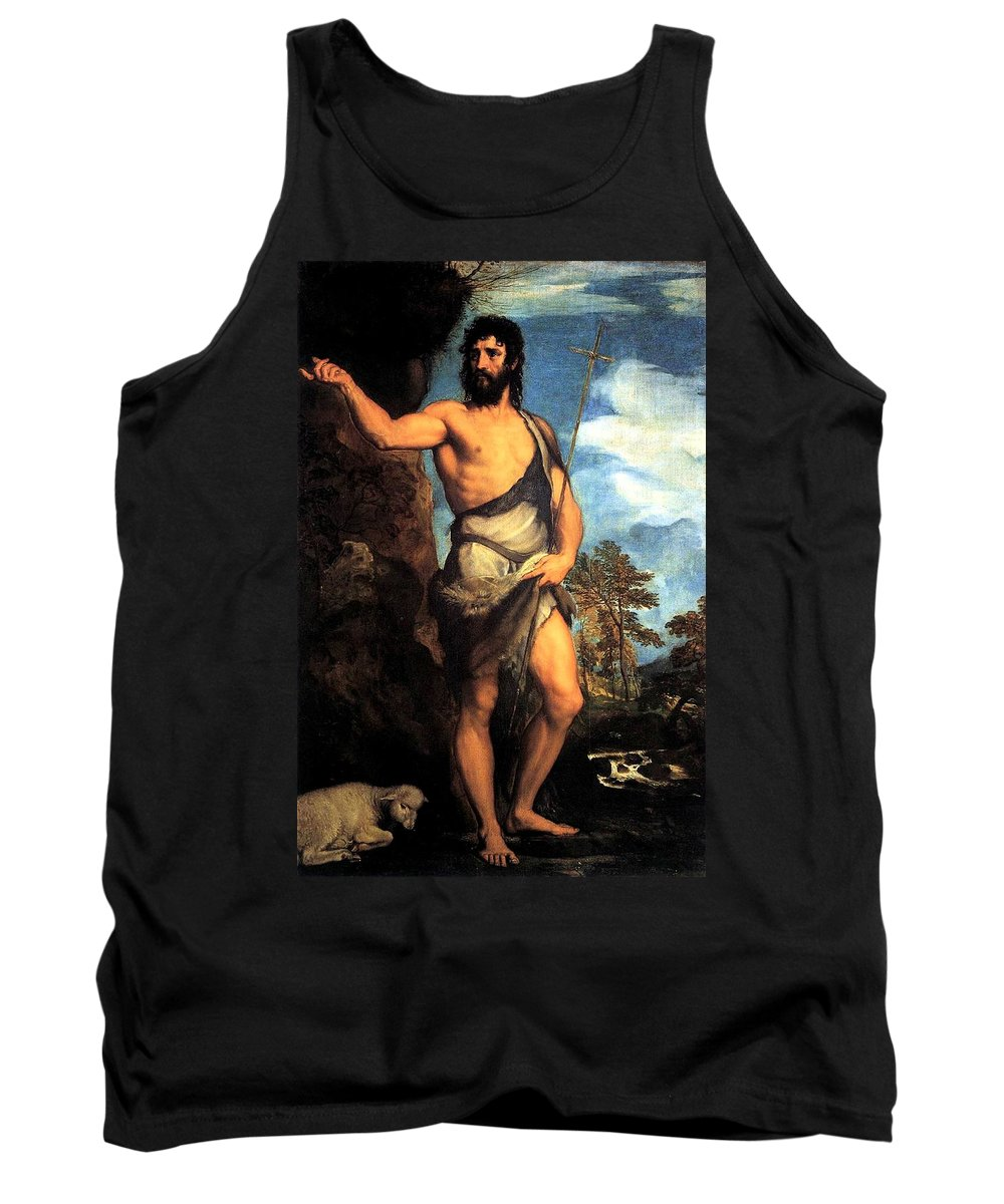 Venice Tank Top featuring the painting John The Baptist by Tiziano Vecellio