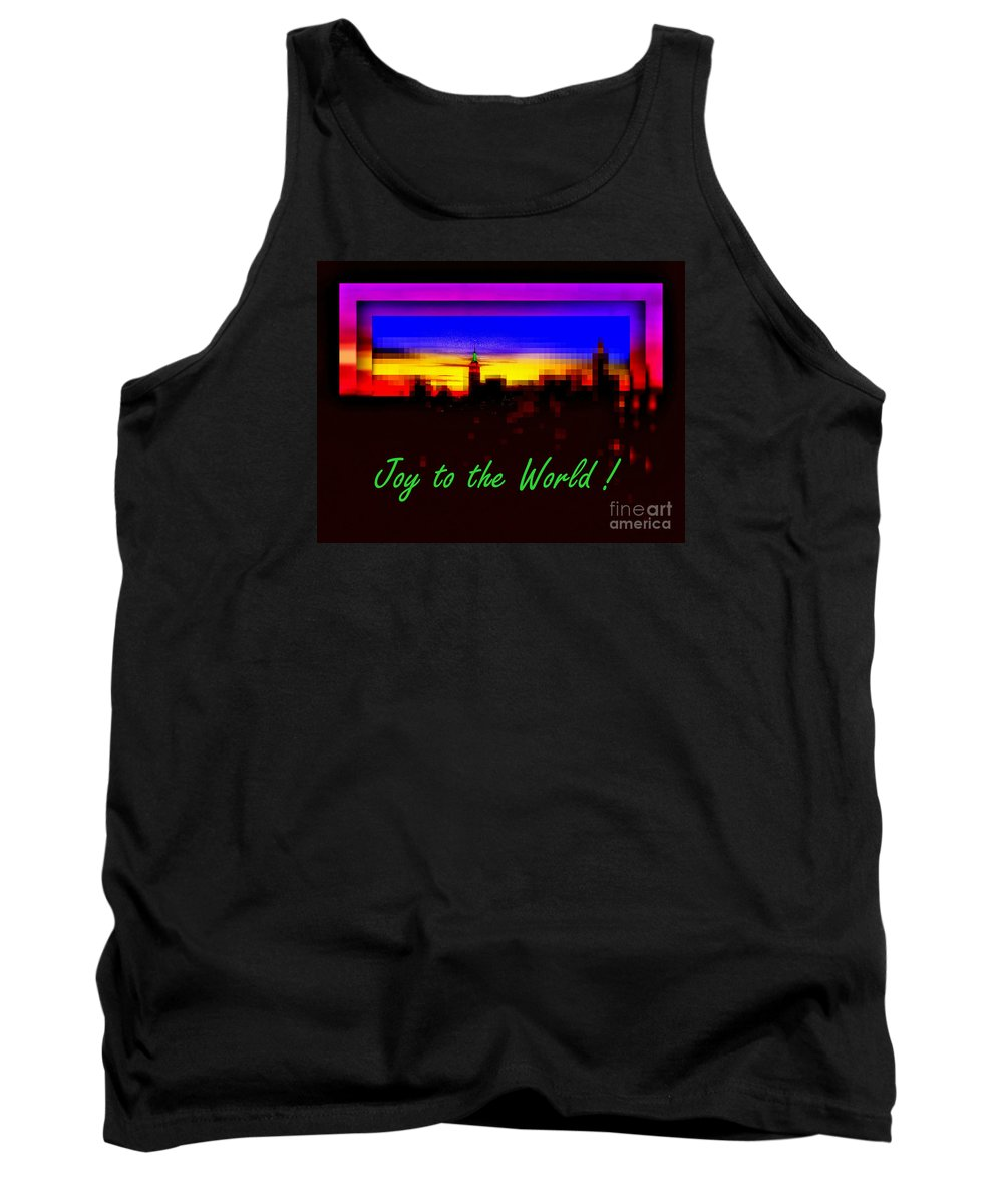Empire State Building Tank Top featuring the photograph Joy To The World - Empire State Christmas And Holiday Card by Miriam Danar