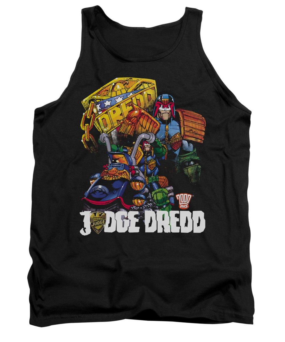 Judge Dredd Tank Top featuring the digital art Judge Dredd - Bike And Badge by Brand A