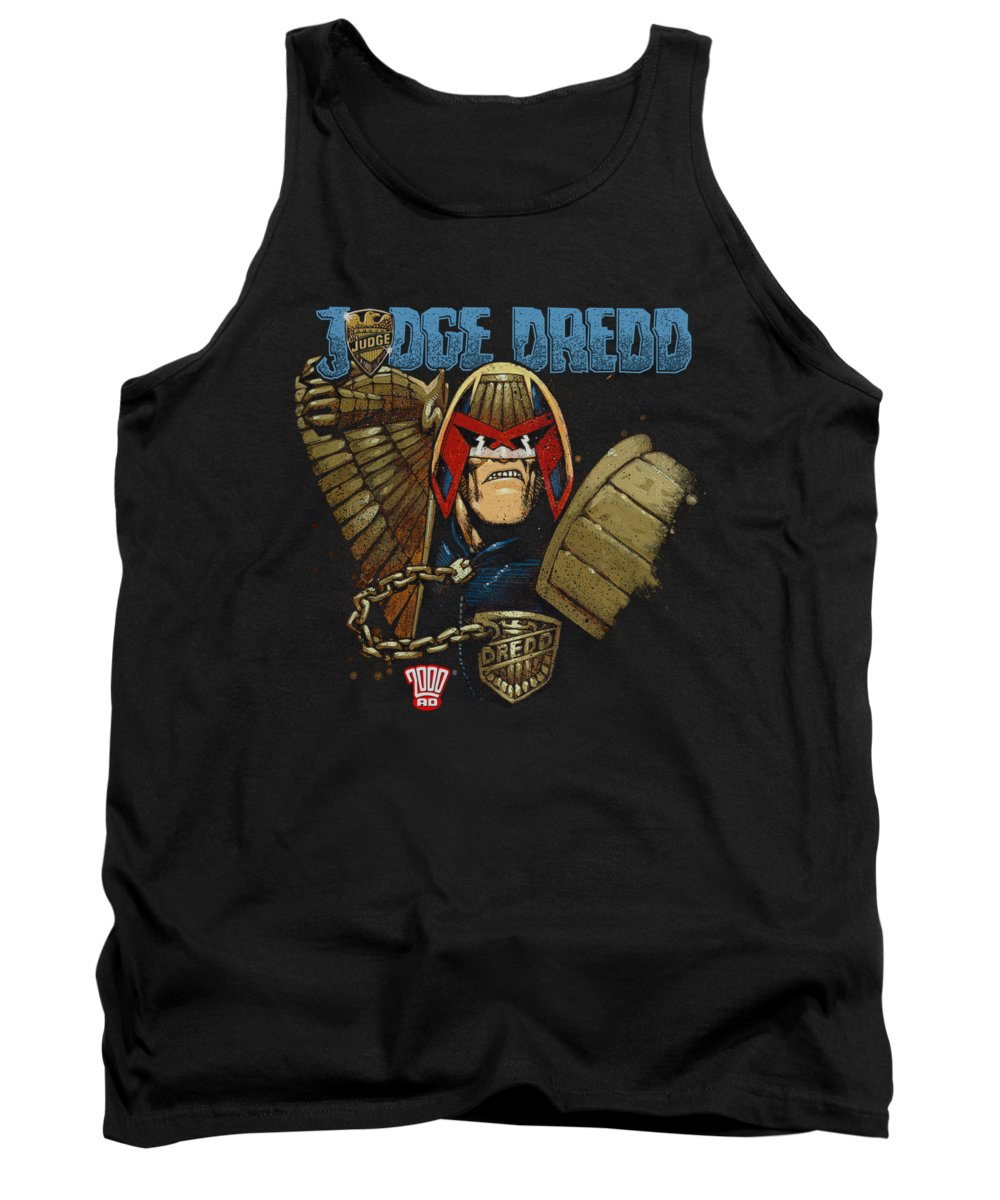 Judge Dredd Tank Top featuring the digital art Judge Dredd - Smile Scumbag by Brand A
