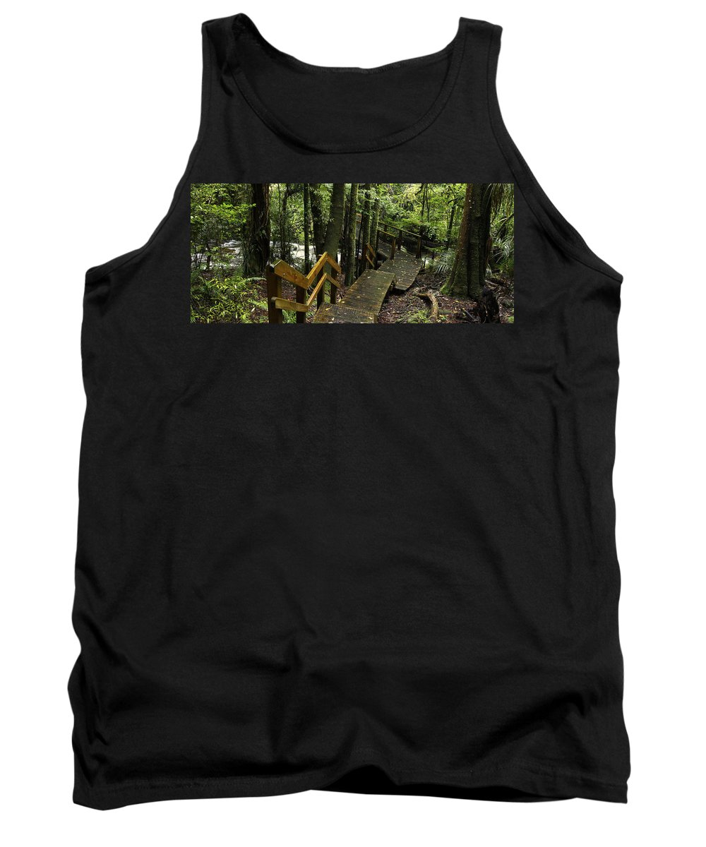 New Zealand Tank Top featuring the photograph Jungle Walkway by Les Cunliffe
