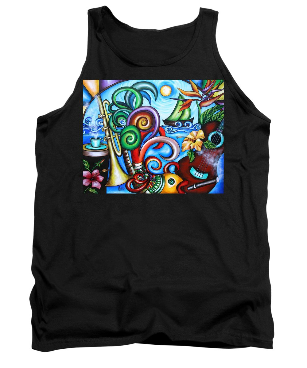 Cuba Tank Top featuring the painting Just A Day In Paradise by Annie Maxwell