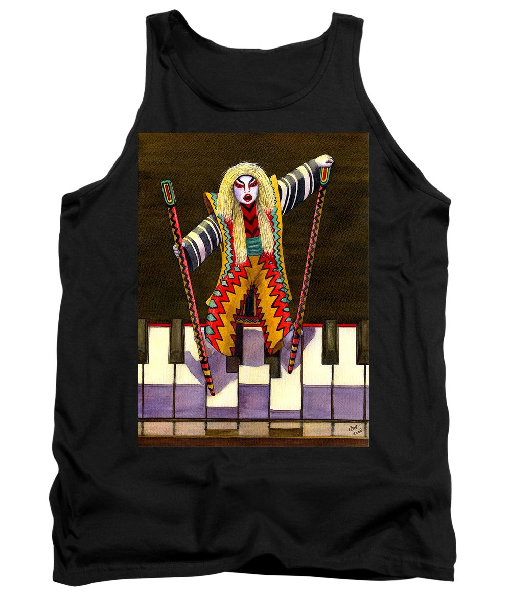 Kabuki Tank Top featuring the painting Kabuki Chopsticks 2 by Catherine G McElroy