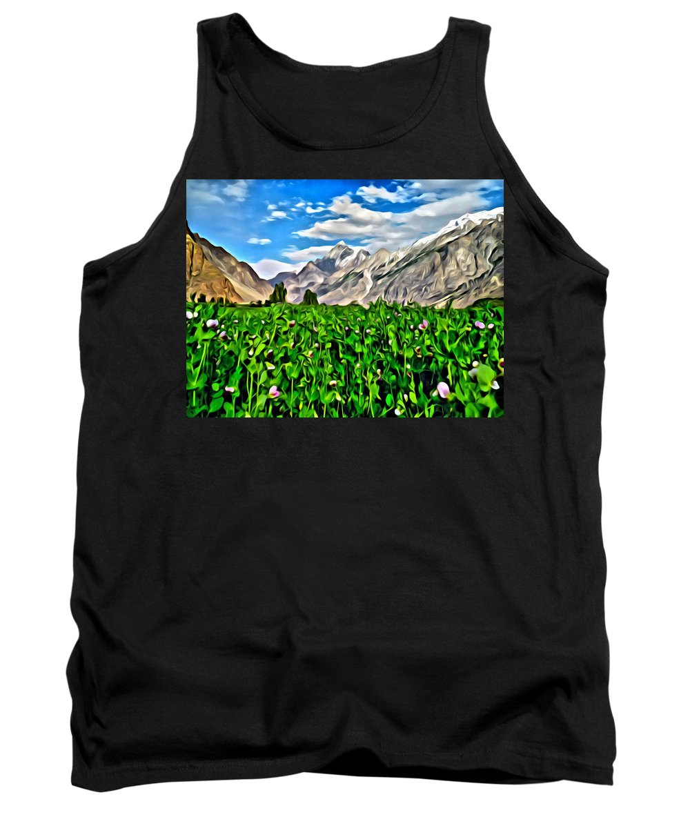 Nature Tank Top featuring the painting Kashmir Field by Florian Rodarte