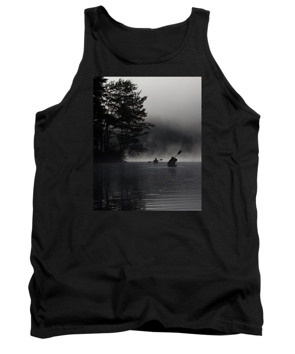 Sun Tank Top featuring the photograph Kayaking In The Fog by Vance Bell