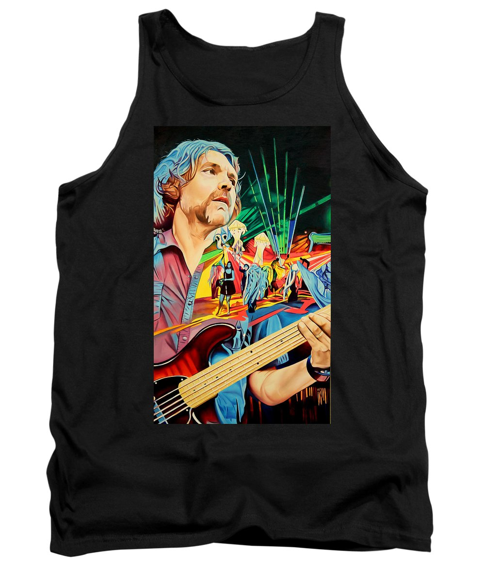 The String Cheese Incident Tank Top featuring the painting Keith Moseley At Horning's Hideout by Joshua Morton