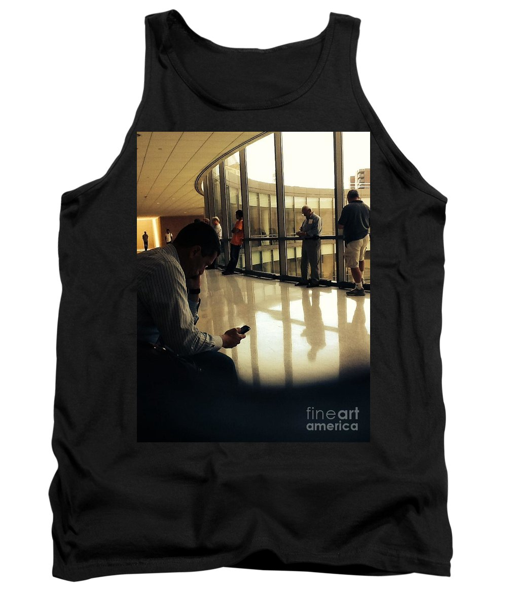 Waiting Tank Top featuring the photograph Killing Time At The Courthouse by Christy Gendalia