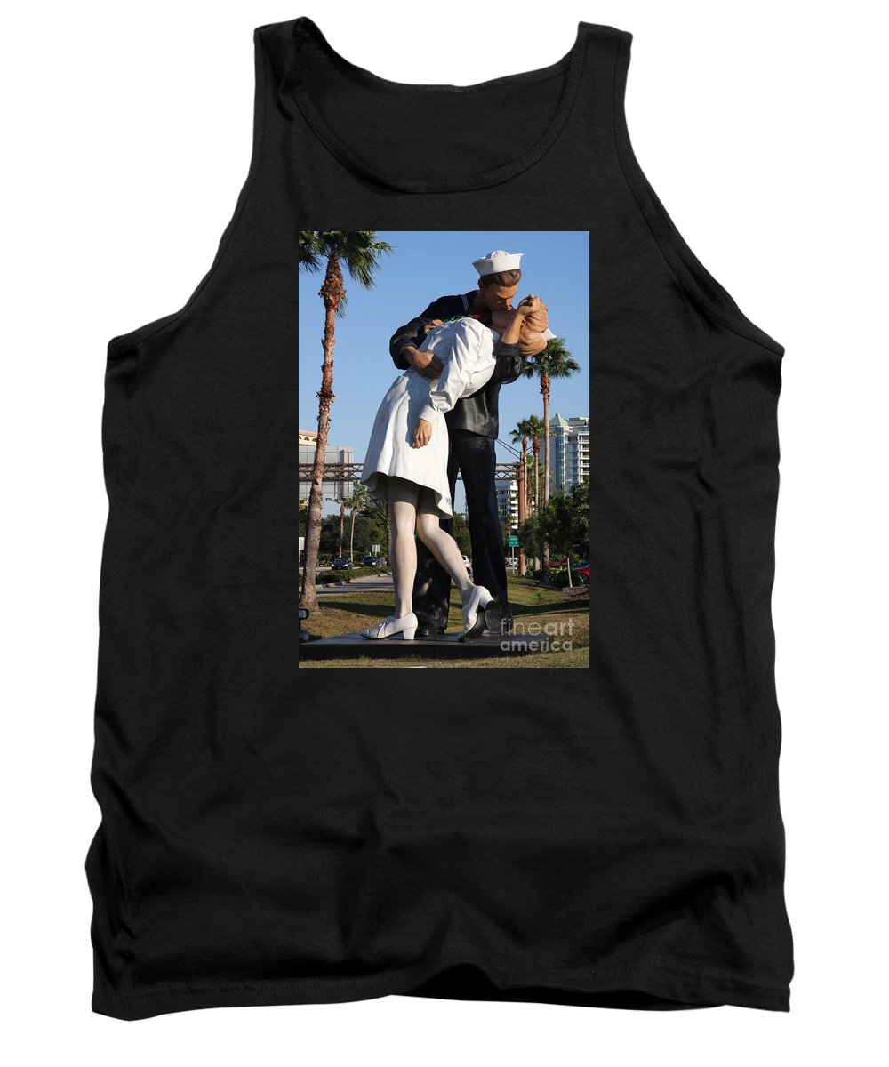 Art Tank Top featuring the photograph Kissing Sailor - The Kiss - Sarasota by Christiane Schulze Art And Photography