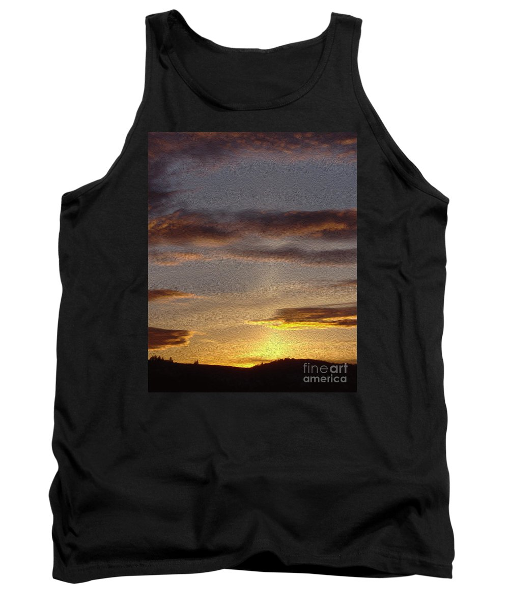 Klamath Sunset Tank Top featuring the painting Klamath Golden Sunset by Todd L Thomas
