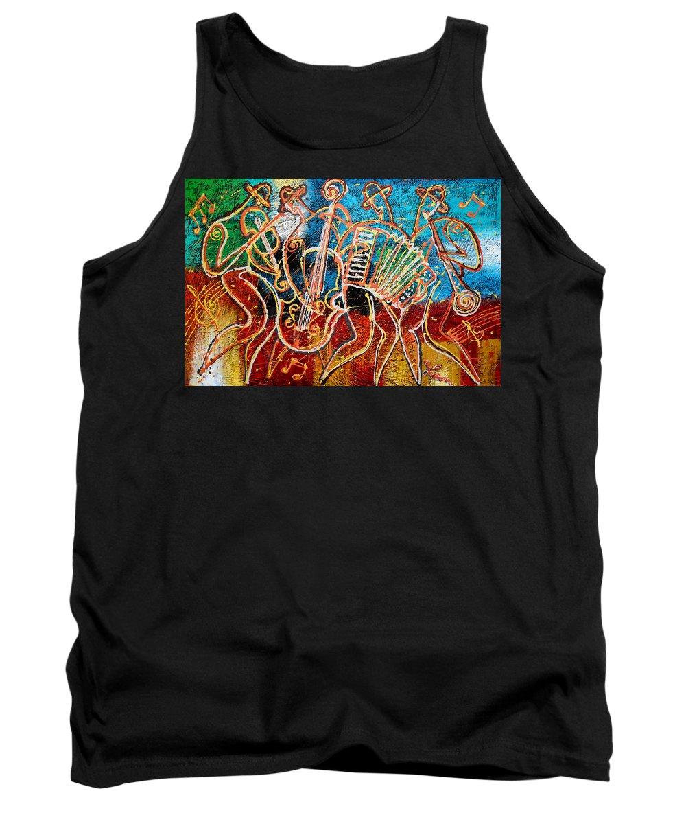 Jazz Tank Top featuring the painting Klezmer Music Band by Leon Zernitsky