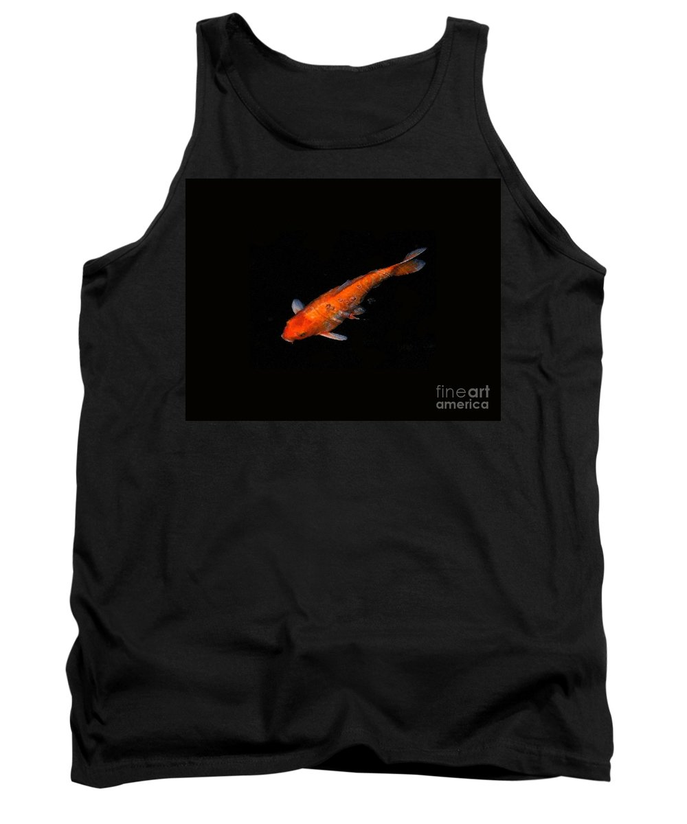 Koi Solitaire Tank Top featuring the photograph Koi Solitaire In Black by Deb Schense
