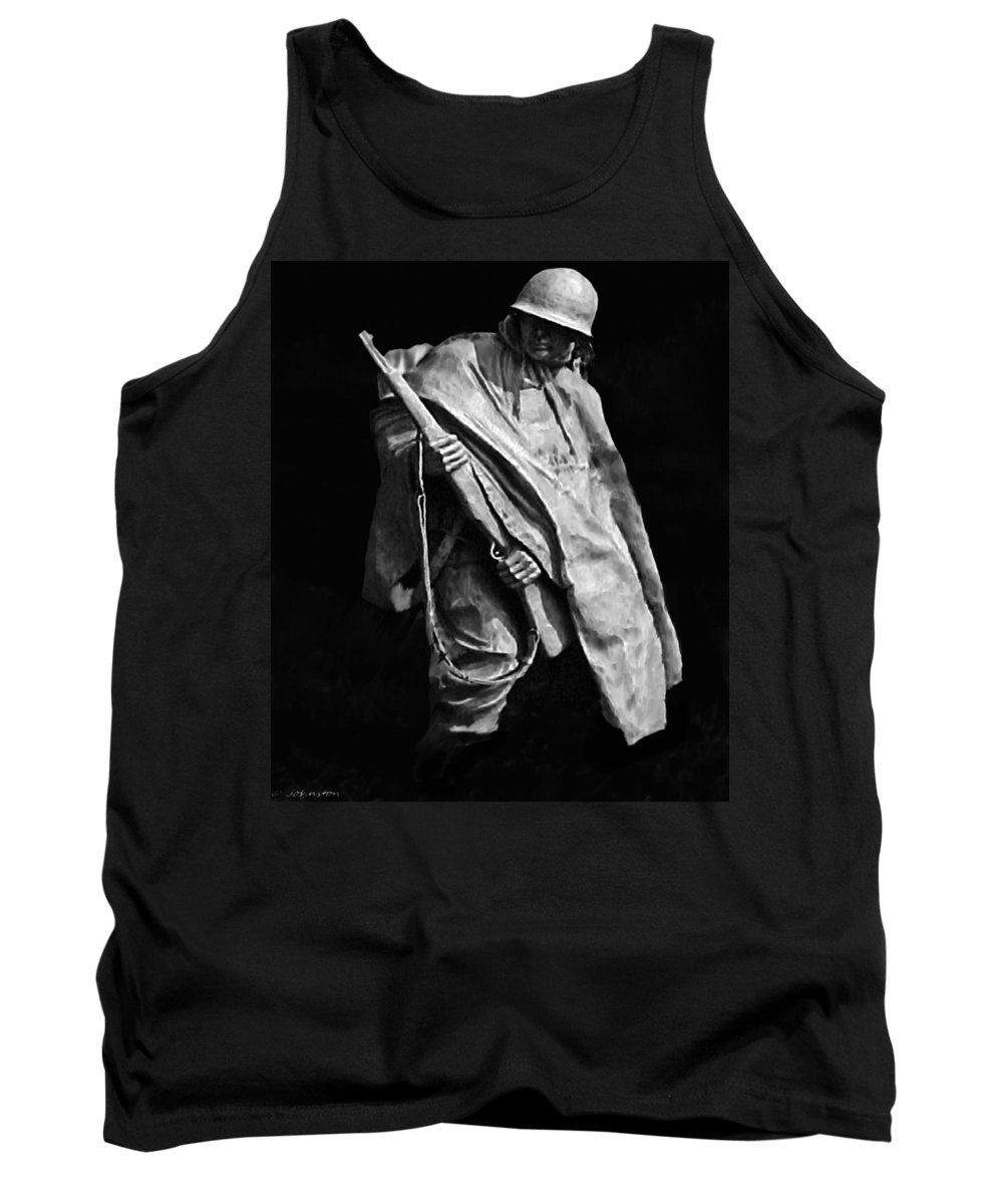Army Tank Top featuring the painting Korean War Veterans Memorial Rifleman by Bob and Nadine Johnston