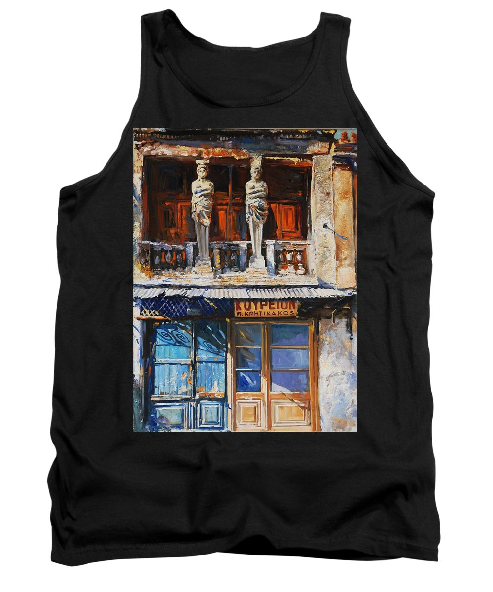 Old Greek Sculptures Tank Top featuring the painting Koriates by Sefedin Stafa