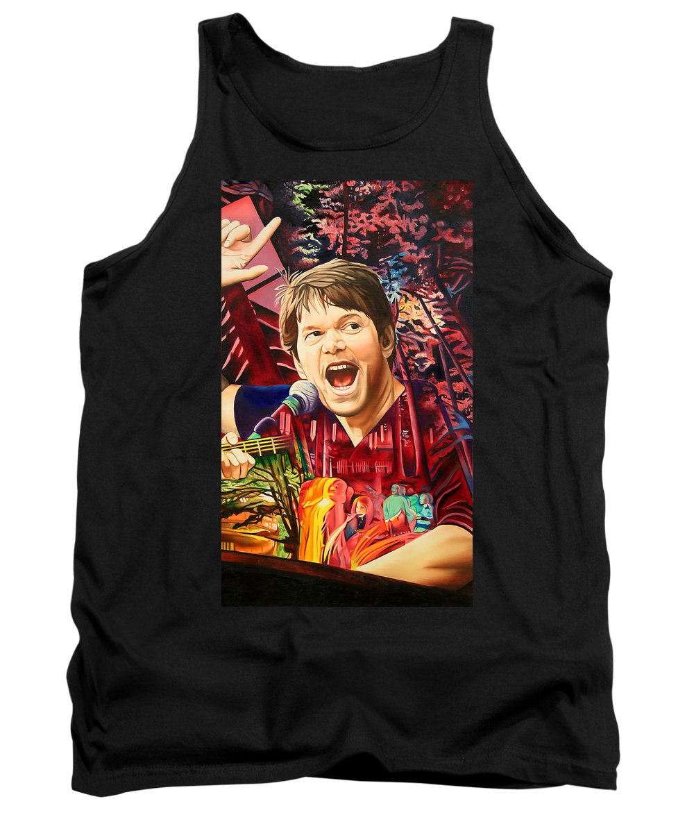 The String Cheese Incident Tank Top featuring the painting Kyle Hollingsworth At Hornin'gs Hideout by Joshua Morton