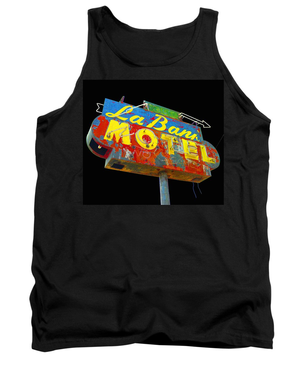 Mid Century Tank Top featuring the photograph La Bank Motel - Black by Larry Hunter