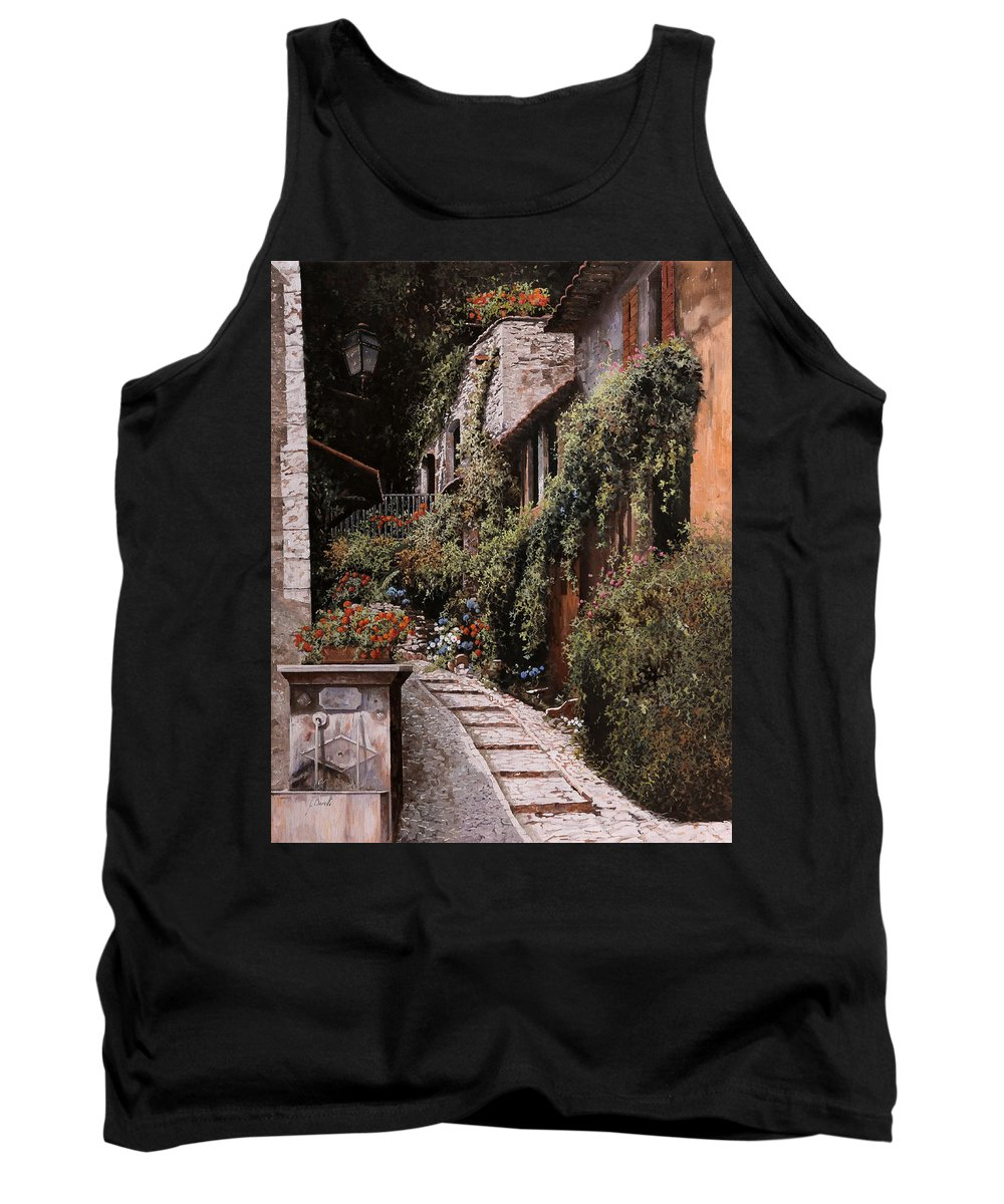 Fountain Tank Top featuring the painting La Fontanella by Guido Borelli